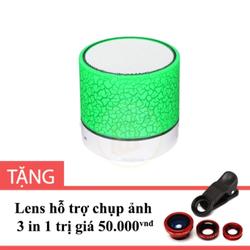Loa Mini Bluetooth A9 đèn led màu Xanh Lá tặng Lens 3 trong 1