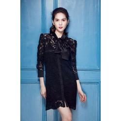 Đầm Ren Tay Dài Cột Nơ Giống Ngọc Trinh - DXM2550
