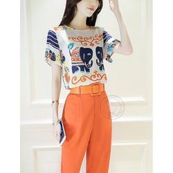 Sét bộ quần lửng + áo in họa tiết voi