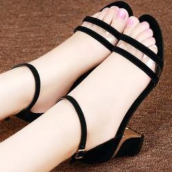 Giày sandal cao gót nữ quai ngang trong - LN1194