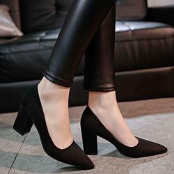 Giày gót vuông nữ mũi nhọn thời trang - LN1208