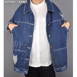 Áo khoác jeans oversize rách Mã: AO2941 - XANH
