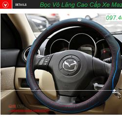 Bọc da vô lăng cao cấp logo xe Mazda- màu đen chỉ xanh