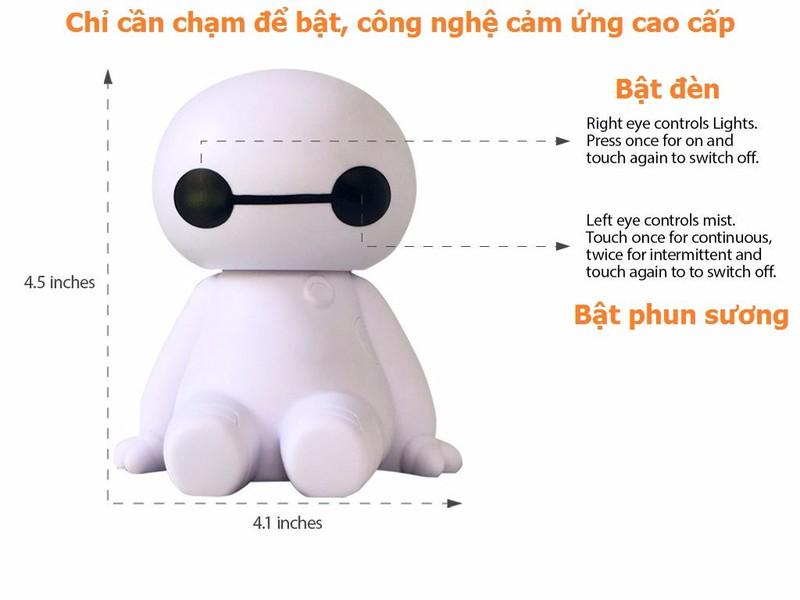 Máy tạo độ ẩm kiêm đèn ngủ Big Hero Humidifier quạt hơi nước mini 7