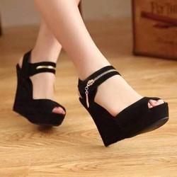 Giày sandal đế xuồng nữ phối khóa kéo - LN1195