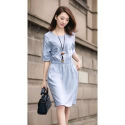 Đầm suông tay ngắn trơn đơn giản