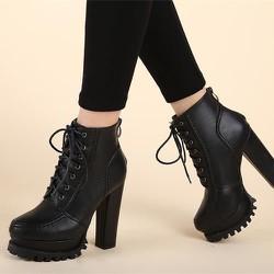 Giày boot nữ đế vuông cột dây sành điệu cao 13cm GBN15601