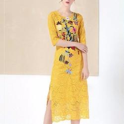 Đầm suông ren thêu hoa sang trọng DS5011 - Hàng nhập loại 1