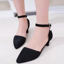 Giày búp bê nữ gót kiểu da kim tuyến cao cấp - LN1209