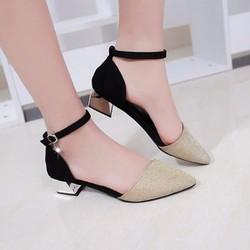 Giày gót vuông nữ da kim tuyến cao cấp - LN1192