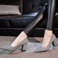 Giày gót vuông nữ mũi nhọn thời trang - LN1211