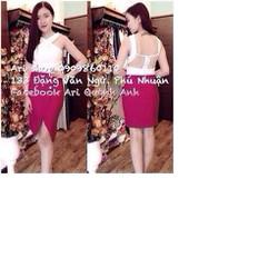 Sét áo cúp phối lưới + chân váy xẻ cực sang