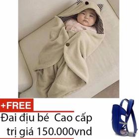 Chăn ủ cho bé tai Mèo + Đai địu bé - khăn choàng