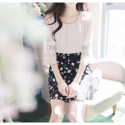 Sét áo sơ mi viền ren chân váy in hoa 3D