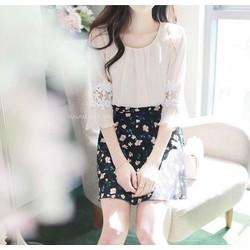 Sét áo viền ren chân váy in hoa