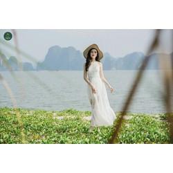 Đầm maxi ren trắng cổ yếm phối lưới siêu cute