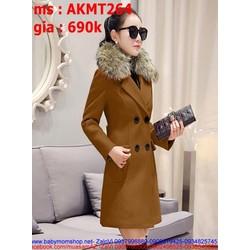 Áo khoác dạ nữ phom dài kèm cổ lông sành điệu thời trang AKMT264