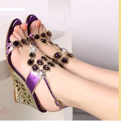 Giày sandal đế xuồng phối hoa văn thời trang cao cấp Lady-LDSD673