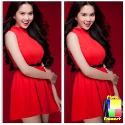 Đầm xòe đỏ sát nách Ngọc Trinh