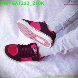Giày thể thao nam cổ thấp màu hồng phối với sọc màu đen GAT212