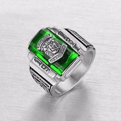 Nhẫn inox nam thời trang sư tử đá xanh lá cây - N545