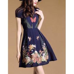 Đầm xòe tay con in hoạ tiết cực xinh - DKN6132