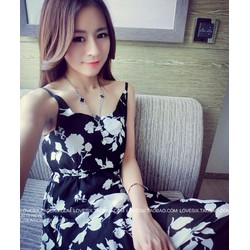 Đầm Maxi 2 Dây Hoa Trắng