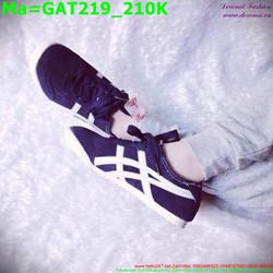 Giày thể thao nam cổ thấp màu đen sọc trắng GAT219