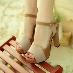 Giày cao gót HQ phối màu quý phái T07