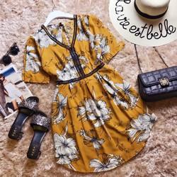 Đầm voan hoa Quảng Châu