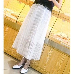 chân váy midi ren vintage Mã: VN523 - TRẮNG