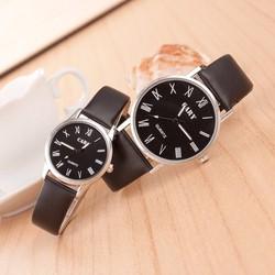 Đồng hồ đôi Cary dây da đen