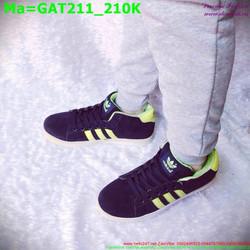 Giày thể thao nam cổ thấp màu đen sọc xanh lá GAT211