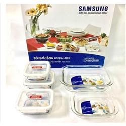 Bộ: 3 hộp thực phẩm và 2 khay nướng thủy tinh chịu nhiệt LockLock
