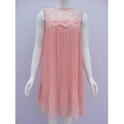 Đầm suông dập ly phối ren - monmon shop