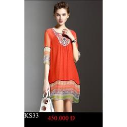 Đầm xuông họa tiết thổ cẩm , hàng cao cấp , mã KS33