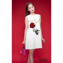 Đầm Suông Hoa Hồng Ngọc Trinh