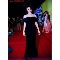 Đầm dạ hội thiết kế rớt vai màu đen sang trọng cá tính DDH386