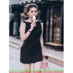 Đầm suông sát nách phối nơ xinh màu đen cá tính DSV205