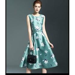 Đầm Xòe Vintage Họa Tiết Cao Cấp Kèm Thắt Lưng