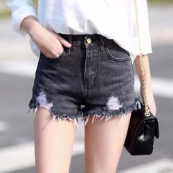 Quần short jean đen rách