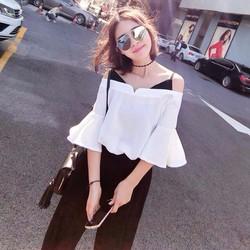 Áo kiểu nữ phối dây cá tính phong cách Korea