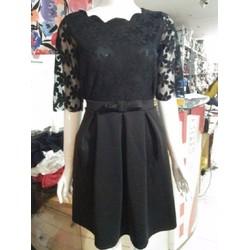 set váy Poly và áo ren đen y hình