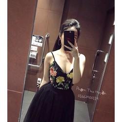 Đầm xòe đen in hoa 2 dây phối lưới siêu cute