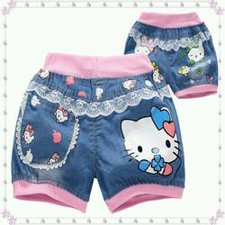 Combo 2 quần sooc jean kitty bé gái