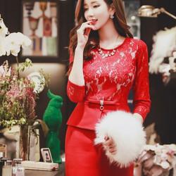 Đầm Ren Dự Tiệc Peplum Spring Cao Cấp có size XXL