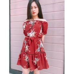 Đầm xòe hoa bẹt vai sành điệu QM03