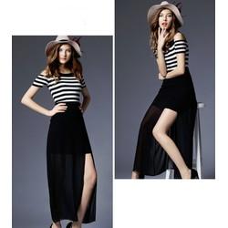 Đầm Maxi Sọc Phối