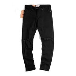 Quần jean nam rách gối màu đen