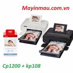 sản phẩm máy in ảnh CP1200 màu đen + Giấy in nhiệt LP10Combo8 - IN